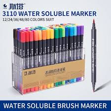 <b>Sta 80colors Double Head</b> Artist Soluble Colored Sketch Brush Pen ...
