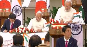 Image result for narendra modi signing deal for bullet train'