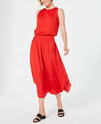 Alfani Smocked-<b>Waist Satin</b> Midi <b>Dress</b>, Created for Macy's ...