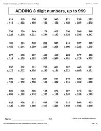 Grade 4 - Math Worksheets (Vertical Addition)math worksheet