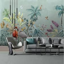 3D <b>Nordic Hand Painted</b> Wallpaper <b>Tropical Plant</b> Wall Watercolor ...