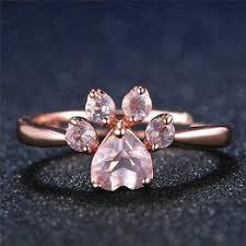 Women Fashion Silver Natural Pink Crystal Pets Footprints ... - Vova