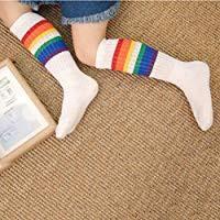 LUOEM <b>5pairs</b> Stripes Thick Socks <b>Rainbow</b> Art Printed Socks Artist ...