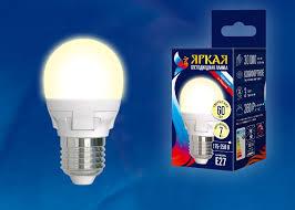 Светодиодная <b>лампа Uniel LED</b>-<b>G45</b> 7W/WW/E27/FR PLP01WH ...