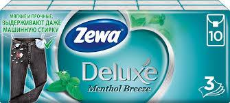 Платочки Бумажные <b>Носовые Zewa Deluxe</b> Ментол, 3 слоя, 10 ...