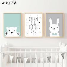 Kawaii Bear Rabbit <b>Canvas</b> Art Posters <b>Woodland Animal Cartoon</b> ...