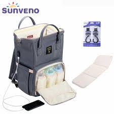 SUNVENO Fashion <b>Mummy Maternity</b> Diaper <b>Bag</b> Large Nursing ...