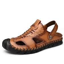 Summer Men Retro Leisure Rubber Sole Flat Sandals Genuine ...