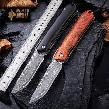 WIND Damascus steel knife, boutique outdoor <b>bearing folding</b> knife ...