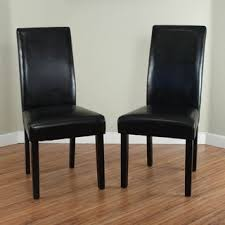 faux leather dining chair black: villa faux leather black dining chairs set of