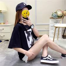 Fashion Creative <b>Cartoon</b> Girl <b>Print Casual</b> Loose Couples T-Shirts ...