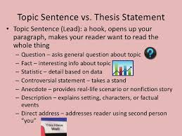 which sentence is an example of a thesis statement that not