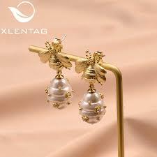 <b>XlentAg</b> 925 Silver Ear Pin <b>Natural</b> Fresh Water <b>Baroque Pearl</b> Drop ...