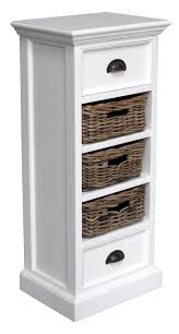 white storage unit wicker:  bathroom white painted medium storage unit with  rattan baskets for bathroom storage unit the