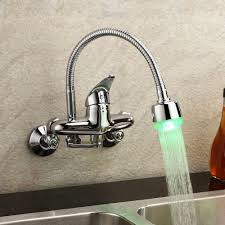 pull kitchen faucet color: chrome single handle wall mount faucet color changing