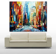 modern palette knife painting architecture new york early morning art picture printed on canvas for home office wall decor home office early