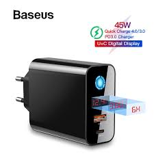 <b>Baseus Digital Display Quick</b> Charge 4.0 3.0 USB Charger Smart ...