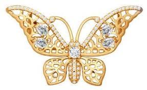 <b>SOKOLOV Позолоченная брошь</b> «<b>Бабочка</b>» 93040016 — купить ...