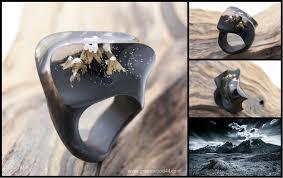 Mont Blanc <b>wooden</b> resin <b>ring Eco</b> epoxy jewelry Green <b>Wood</b> the ...