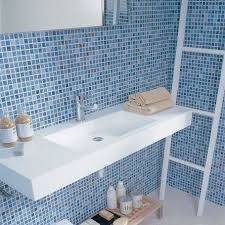 blue swirl mosaic bathroom blue  appealing flaoting vanity which is colored in white and designed