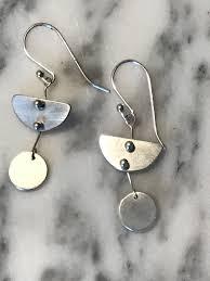 The Bernadette <b>handmade silver</b> earring, 925 <b>sterling silver</b> half ...