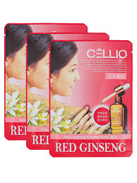 <b>Тканевая маска</b> для лица <b>Красный Женьшень</b>, (3шт). CELLIO ...