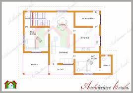 SQUARE FEET TWO BEDROOM HOUSE PLAN AND ELEVATION    Floor Plan