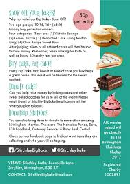 five days to stirchley s bake off get involved stirchley baths baking in the competition donating bakes to sell or just come along and buy and eat lots of cake in the of charity details on the poster below