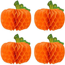 Amosfun 4pcs Honeycomb Pumpkin <b>Halloween Hanging</b> Pumpkin ...