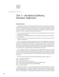 chapter 4 tier 1 analytical delivery decision approach a page 40