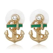 LK  <b>1 Pair Women Fashion</b> Rhinestone 9K Gold Plated Anchor Ear ...