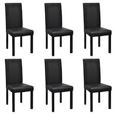 Shop vidaXL 6 <b>Modern Artificial Leather Wooden</b> Dining Chairs Black