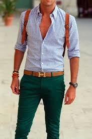 I love the color combination of green <b>trousers</b>, blue and white plaid ...