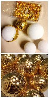 cheap christmas decor: gold thumbtacks styrofoam balls click pic for  diy christmas decorations for home cheap