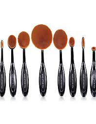 10 pcs oval makeup brushes set synthetic hair professional full coverage plastic face eye