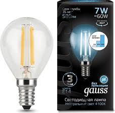 <b>Лампочка Gauss</b> Black LED <b>Filament</b> шар E14 7W, Нейтральный ...