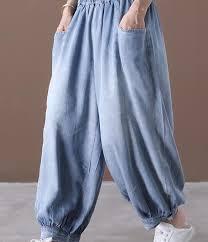 <b>Thin</b> Denim <b>Summer</b> Loose Wide Leg Women Casual Pants <b>Elastic</b> ...