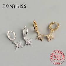 <b>PONYKISS Trendy 100</b>% <b>925</b> Sterling Silver New Zircon Star <b>Chic</b> ...
