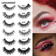 LEHUAMAO <b>False</b> Eyelash <b>3D Mink Eyelashes</b> Cruelty Free Natural ...
