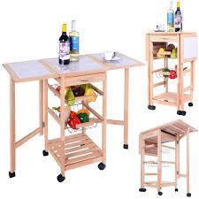 leaf kitchen cart: portable rolling drop leaf kitchen storage tile top wooden drawers trolley cart