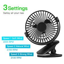 6'' <b>USB Rechargeable Mini</b> Clip On 3 Speeds Cooling Fan Office ...