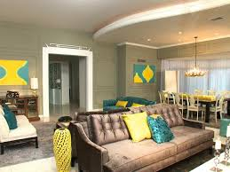 living room with vintage sofa and yellow and turquoise accents chic yellow living room
