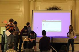 photo essay haverford hosts tri co hackathon the clerk opening ceremonies 0115 trico text team 0118