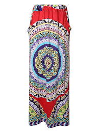 Hot-sale <b>Bohemian</b> Women Pocket <b>Printed Elastic Waist</b> Beach Maxi ...