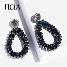 <b>FLOLA</b> 2019 <b>Handmade</b> Teardrop Crystal <b>Beads</b> Earrings for ...