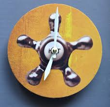small bathroom clock: small wall clock with an image of a spigot h o t bathroom clock