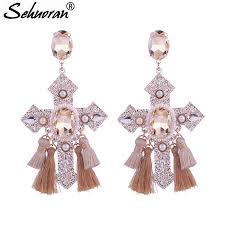 <b>Sehuoran Tassel Earrings</b> Boho Crystal Crosss <b>Drop</b> Earrings For ...