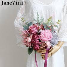 JaneVini <b>Korea</b> Style Bridal Flower Bouquets <b>Silk</b> Rose Peony ...