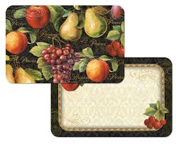 fruit decor tuscan wall  gourmet fruit grapeapplepear on black placemats