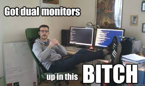 dual monitors memes | quickmeme via Relatably.com